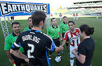 Coin Toss. The San Jose Earthquakes defeated Chivas USA 6-5 in shootout after drawing 0-0 in regulation time to win the inagural Sacramento Cup at Raley Field in Sacramento, California on June 12, 2010.