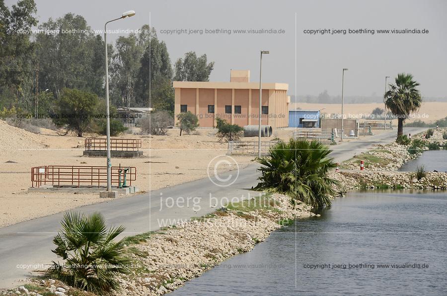 EGYPT, Ismallia , water treatment plant,  the treated water is used for irrigation of  the Sarapium forest in the desert / AEGYPTEN, Ismailia, Klaerwerk, das gereinigte Abwasser wird zur Bewaesserung des Sarapium Forstprojekt in der Wueste genutzt