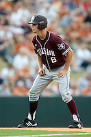 Texas A&M Aggies outfielder Brandon Wood #8 leads off of second against the Texas Longhorns in NCAA Big XII Conference baseball on May 21, 2011 at Disch Falk Field in Austin, Texas. (Photo by Andrew Woolley / Four Seam Images)