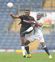 Bolton Wanderers' Sammy Ameobi under pressure from Blackburn Rovers' Amari'i Bell<br /> <br /> Photographer Kevin Barnes/CameraSport<br /> <br /> The EFL Sky Bet Championship - Blackburn Rovers v Bolton Wanderers - Monday 22nd April 2019 - Ewood Park - Blackburn<br /> <br /> World Copyright © 2019 CameraSport. All rights reserved. 43 Linden Ave. Countesthorpe. Leicester. England. LE8 5PG - Tel: +44 (0) 116 277 4147 - admin@camerasport.com - www.camerasport.com