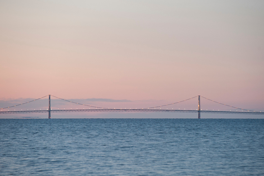 The Mackinac Bridge connects Michigan's Upper and Lower Peninsulas at the Straits of Mackinac between Lake Michigan and Lake Huron.