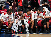 NWA Democrat-Gazette/CHARLIE KAIJO Arkansas Razorbacks players react during the Southeastern Conference Men's Basketball Tournament semifinals, Saturday, March 10, 2018 at Scottrade Center in St. Louis, Mo. The Tennessee Volunteers knocked off the Arkansas Razorbacks 84-66