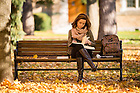 November 7, 2016; Law student studying on a bench on Main Quad (Photo by Matt Cashore/University of Notre Dame)