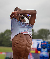 Mo Farah of GBR removes his shirt after running his last ever track race in the UK during the Muller Grand Prix Birmingham Athletics at Alexandra Stadium, Birmingham, England on 20 August 2017. Photo by Andy Rowland.