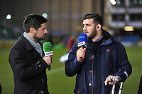 Rob Webber speaks to Craig Doyle live on BT Sport during the pre-match warm-up. Aviva Premiership match, between Bath Rugby and Saracens on February 28, 2014 at the Recreation Ground in Bath, England. Photo by: Patrick Khachfe / Onside Images