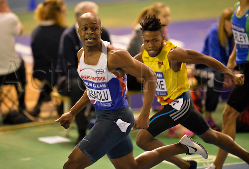 27.02.2016. EIS Sheffield, Sheffield, England. British Indoor Athletics Championships Day One. James Dasaolu crosses the line to win the 60m Final.