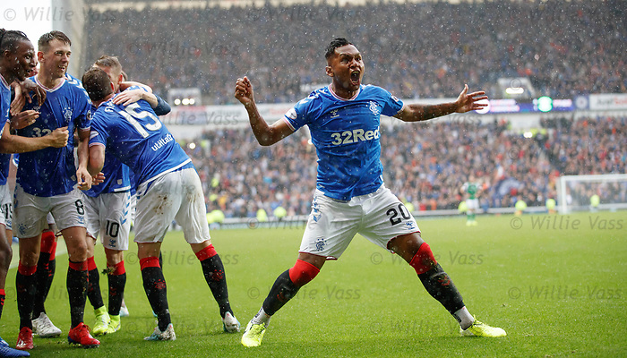 11.08.2019 Rangers v Hibs: Alfredo Morelos roars like a mad buffalo after scoring goal no 4