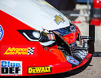 Apr 23, 2017; Baytown, TX, USA; Detailed view of damage to the car of NHRA funny car driver Robert Hight after hitting the center line timing block during the Springnationals at Royal Purple Raceway. Mandatory Credit: Mark J. Rebilas-USA TODAY Sports