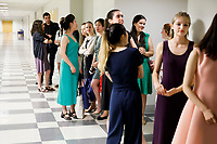 Contestants wait to walk in the processional during the opening ceremony of the 11th USA International Harp Competition at Indiana University in Bloomington, Indiana on Wednesday, July 3, 2019. (Photo by James Brosher)