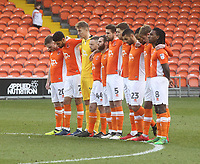 Blackpool's players observe a silence<br /> <br /> Photographer Mick Walker/CameraSport<br /> <br /> The EFL Sky Bet League One - Blackpool v Bristol Rovers - Saturday 13th January 2018 - Bloomfield Road - Blackpool<br /> <br /> World Copyright &copy; 2018 CameraSport. All rights reserved. 43 Linden Ave. Countesthorpe. Leicester. England. LE8 5PG - Tel: +44 (0) 116 277 4147 - admin@camerasport.com - www.camerasport.com