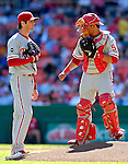 23 September 2007: Philadelphia Phillies starting pitcher Cole Hamels (left) discusses strategies with catcher Carlos Ruiz (right) during game action against the Washington Nationals at Robert F. Kennedy Memorial Stadium in Washington, DC. The Nationals defeated the visiting Phillies 5-3 to close out the 2007 home season and the final game in baseball history at RFK Stadium. The Nationals will open up the 2008 season at Nationals Park, their new facility currently under construction.. .Mandatory Photo Credit: Ed Wolfstein Photo