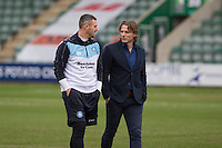 Wycombe coach Barry Richardson and manager Gareth Ainsworth check out the pitch ahead of the Sky Bet League 2 match between Plymouth Argyle and Wycombe Wanderers at Home Park, Plymouth, England on 30 January 2016. Photo by Mark  Hawkins / PRiME Media Images.