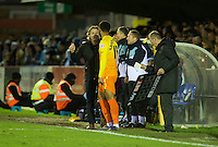 Manager Gareth Ainsworth brings on Aaron Holloway of Wycombe Wanderers during the Sky Bet League 2 match between AFC Wimbledon and Wycombe Wanderers at the Cherry Red Records Stadium, Kingston, England on 21 November 2015. Photo by Alan  Stanford/PRiME.