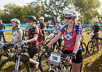 NWA Democrat-Gazette/CHARLIE KAIJO Hannah Swilling of Greenwood High School (right) and JV girls wait to start their race during the girls JV race at the John Brown University Sager Creek Trail in Siloam Springs, AR on Sunday, September 10, 2017. The first race of the 2017 Arkansas NICA Season took place at Sager Creek Trail on the campus of John Brown University in Siloam Springs, Arkansas.