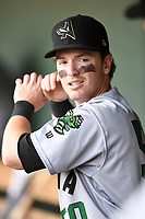 Second baseman Tyler Brown (50) of the Augusta GreenJackets warms up before a game against the Greenville Drive on Wednesday, April 25, 2018, at Fluor Field at the West End in Greenville, South Carolina. Augusta won, 9-2. (Tom Priddy/Four Seam Images)
