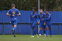 Reece Tranter of Romford scores the first goal for his team and celebrates with his team mates during Romford vs Soham Town Rangers, BetVictor League North Division Football at the Brentwood Centre on 2nd November 2019