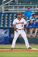 Harrisburg Senators first baseman Jose Marmolejos (3) waits for a throw during a game against the Bowie Baysox on May 16, 2017 at FNB Field in Harrisburg, Pennsylvania.  Bowie defeated Harrisburg 6-4.  (Mike Janes/Four Seam Images)
