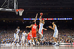 02 APR 2016:  Joel Berry II (2) of the University of North Carolina drives to the hoop against Syracuse University during the NCAA Division I Men's Final Four held at NRG Stadium in Houston, TX.  North Carolina defeated Syracuse 83-66 to advance to the finals.  Jamie Schwaberow/NCAA Photos