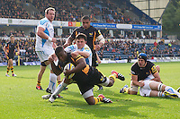 Simon McIntyre of London Wasps forces his way through Jonny Arr of Worcester Warriors to score a try  during the Aviva Premiership match between London Wasps and Worcester Warriors at Adams Park on Sunday 7th October 2012 (Photo by Rob Munro)