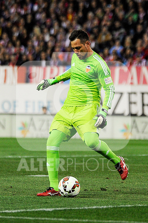 Valencia CF´s goalkeeper Diego Alves during 2014-15 La Liga match between Atletico de Madrid and Valencia CF at Vicente Calderon stadium in Madrid, Spain. March 08, 2015. (ALTERPHOTOS/Luis Fernandez)