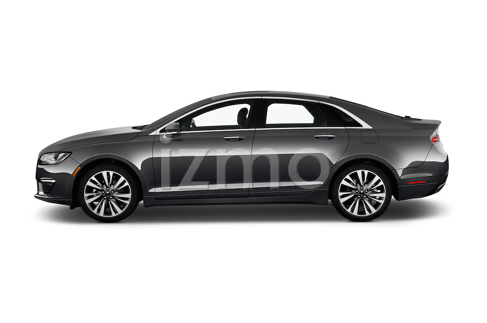 Car Driver side profile view of a 2018 Lincoln MKZ Hybrid-Select 4 Door Sedan Side View
