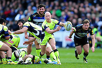 Peter Stringer of Sale Sharks passes the ball. Aviva Premiership match, between Bath Rugby and Sale Sharks on April 23, 2016 at the Recreation Ground in Bath, England. Photo by: Patrick Khachfe / Onside Images