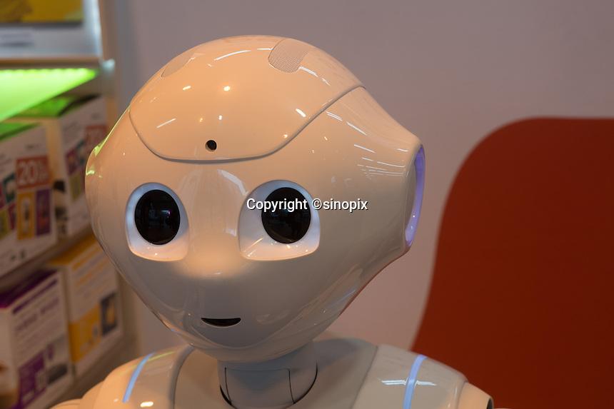 SloftBank's first robot, Pepper greeting customers at LABI Electric shop in Shibuya, Tokyo