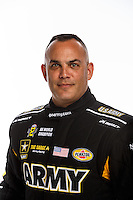 Feb 10, 2016; Pomona, CA, USA; NHRA top fuel driver Tony Schumacher poses for a portrait during media day at Auto Club Raceway at Pomona. Mandatory Credit: Mark J. Rebilas-USA TODAY Sports