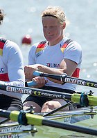 Brandenburg. GERMANY.<br /> GER W4X. Bow, Annekatrin THIELE, , at the start of their heat. 2016 European Rowing Championships at the Regattastrecke Beetzsee<br /> <br /> Friday  06/05/2016<br /> <br /> [Mandatory Credit; Peter SPURRIER/Intersport-images]