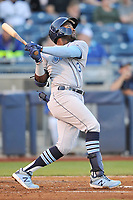 Corpus Christi Hooks center fielder Ronnie Dawson (3) swings at a pitch against the Tulsa Drillers at Oneok Stadium on May 4, 2019 in Tulsa, Oklahoma.  The Hooks won 9-7.  (Dennis Hubbard/Four Seam Images)