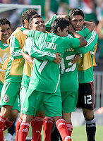 05 July 2009: Pablo Barrera of Mexico celebrates with teammates after scoring a goal during the second half of the game against Nicaragua at Oakland-Alameda County Coliseum in Oakland, California.    Mexico defeated Nicaragua, 2-0.