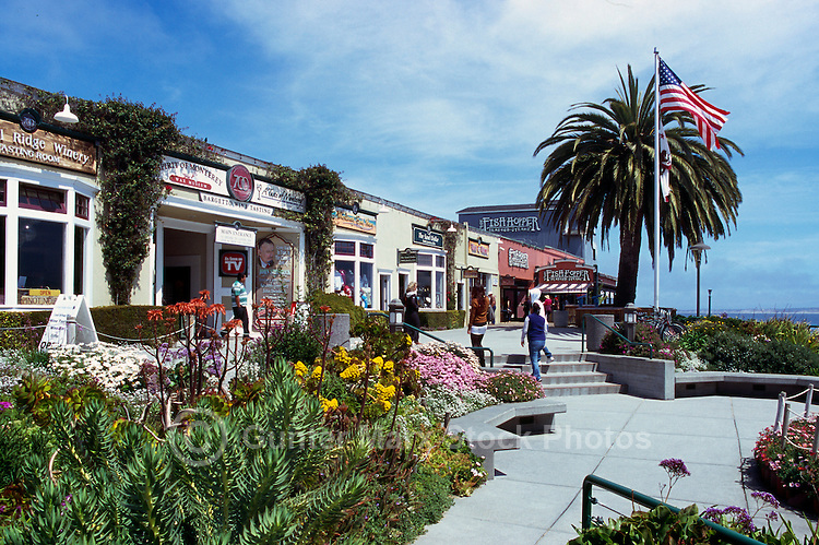 """Shops and Restaurants at Steinbeck Plaza along """"Cannery Row"""", in the City of Monterey, California, USA"""