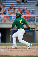 Beloit Snappers right fielder Logan Farrar (11) follows through on a swing during a game against the Dayton Dragons on July 22, 2018 at Pohlman Field in Beloit, Wisconsin.  Dayton defeated Beloit 2-1.  (Mike Janes/Four Seam Images)
