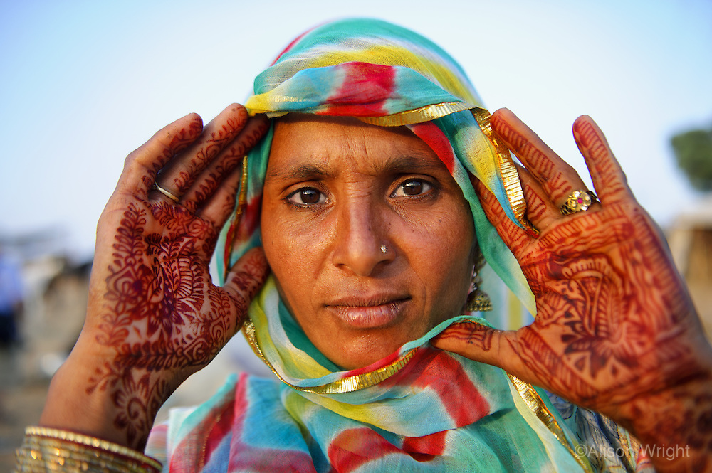 Woman with hennaed hands, Pushkar, Rajasthan, India2011