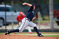 Atlanta Braves pitcher Sean McLaughlin (17) delivers a pitch during an Instructional League game against the Philadelphia Phillies on October 9, 2017 at the Carpenter Complex in Clearwater, Florida.  (Mike Janes/Four Seam Images)