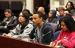 Nevada college students, from left, Beatriz Aguirre, Nathaniel Phillips and LeLiana DeLeon testify against deep cuts to higher education during a hearing at the Legislature on Wednesday, May 18, 2011, in Carson City, Nev. .Photo by Cathleen Allison