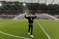 Former Swansea player Michu greets the home crowd during the Premier League game between Swansea City v Chelsea at the Liberty Stadium, Swansea, Wales, UK. Saturday 28 April 2018