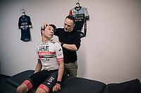 Jasper Philipsen (BEL/UAE-Emirates) in for a bikefit &amp; osteo screening at the Wolf Performance centre in Leuven/Belgium at the start of his debut (as part of  a World Tour team) pro season (january 2019)<br /> <br /> bike fitter: Joris Verreydt <br /> osteo therapist: Frigyes Vanden Auweele<br /> <br /> &copy;kramon
