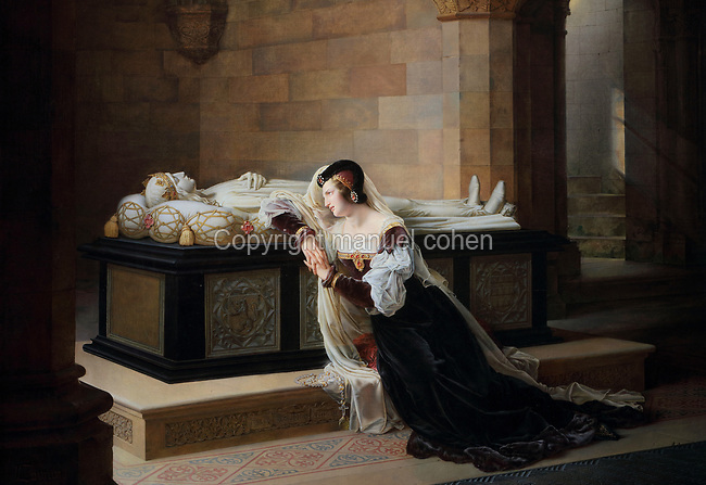 Valentine de Milan at the tomb of her husband Louis d'Orleans, oil painting on canvas, from the  Salon of 1822, by Marie-Philippe Coupin de la Couperie, 1773-1851, in the Musee des Beaux-Arts de la Ville de Blois, housed since 1869 on the first floor of the Louis XII wing of the Chateau Royal de Blois, built 13th - 17th century in Blois in the Loire Valley, Loir-et-Cher, Centre, France. The museum originally opened in 1850 in the Francois I wing, but moved here in 1869 after the rooms had been restored by Felix Duban in 1861-66. The chateau has 564 rooms and 75 staircases and is listed as a historic monument and UNESCO World Heritage Site. Picture by Manuel Cohen