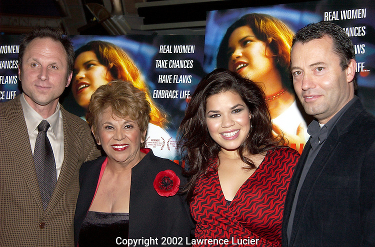 NEW YORK-OCTOBER 10: New Maket Films president Bob Berney (L to R), actress Lupe Ontiveros, actress America Ferrera, and HBO producer Colin Callender  arrive at the premier of Real Women Have Curves October 10, 2002, in New York City. The movie is an HBO Films theatrical release.