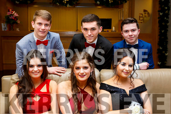 Attending the CBS Debs at the Ballroom Heights Hotel on Friday night last. Seated l-r, Emer Dineen (Tralee), Niamh Curtain (Ballymac) and Shauna Moriarty (Castleisland).<br /> Back l-r, Brian Murphy (Tralee), Cathal Murphy (Fenit) and Jack Hobbert (Tralee).