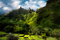 View of trraces and Makana Mountain ridge. Limahuli Gardens, Kauai, Hawaii