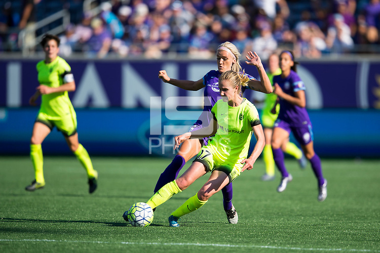 Orlando, FL - Sunday May 08, 2016: Seattle Reign FC midfielder Beverly Yanez (17) and Orlando Pride midfielder Kaylyn Kyle (6) during a regular season National Women's Soccer League (NWSL) match at Camping World Stadium.