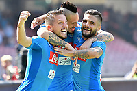 Esultanza Gol Marek Hamsik Napoli Goal celebration with Dries Mertens and Lorenzo insigne 1-0 Marek Hamsik miglior marcatore storia del Napoli  <br /> Napoli 01-10-2017 Stadio San Paolo Football Calcio Serie A 2017/2018 Napoli - Cagliari  <br /> Foto Andrea Staccioli / Insidefoto