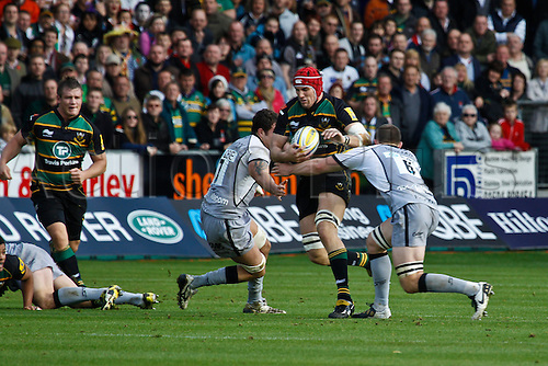 30.10.2010 Aviva Premiership Rugby Northampton Saints v Newcastle Falcons.  Northampton's Christian Day on the crash.