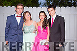 Attending the Castleisland Community College Debs at the Earl of Desmond Hotel on Friday night were l-r Darragh McGinley, Leah Moeller, Natasha McAuliffe and Daniel Chung.