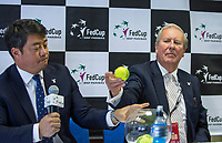Bratislava, Slovenia, April 21, 2017,  FedCup: Slovakia-Netherlands, Draw ceremony, First match is drawn by Davis Jude, left Tony Cho<br /> Photo: Tennisimages/Henk Koster
