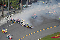 Feb 9, 2008; Daytona, FL, USA; ARCA RE/MAX Series driver Kyle Krisiloff (7), Scott Speed (2) and Mario Gosselin (21) collide during a multi-car accident during the ARCA 200 at Daytona International Speedway. Mandatory Credit: Mark J. Rebilas-US PRESSWIRE