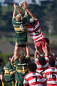 J. Chipman & S. Poching compete for lineout ball. Counties Manukau Premier McNamara Cup rugby game between Pukekohe & Karaka played at Colin Lawrie Fields Pukekohe on July 14th, 2007. Pukekohe won 31 - 29.