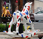 "A view of ""American Rocker #1"" created by Edward Berkise, on Main Street, one of the ""Rockin' Around Saugerties"" theme Statues on display throughout the Village of Saugerties, NY, on Friday, June 9, 2017. Photo by Jim Peppler. Copyright/Jim Peppler-2017."